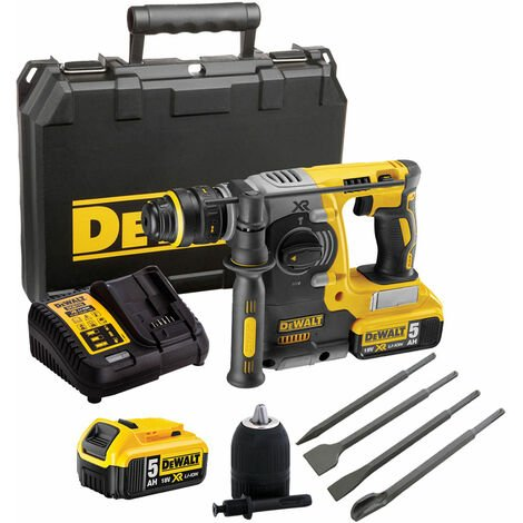 Dewalt DCH273P2 18V Hammer Drill Brushless & 4 Piece Chisel Set + Keyless Chuck:18V