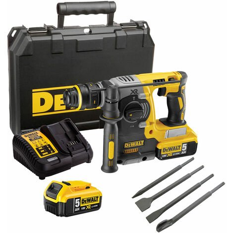 Dewalt DCH273P2 18V SDS+ Rotary Hammer Drill Brushless with 4 Piece Chisel Set:18V