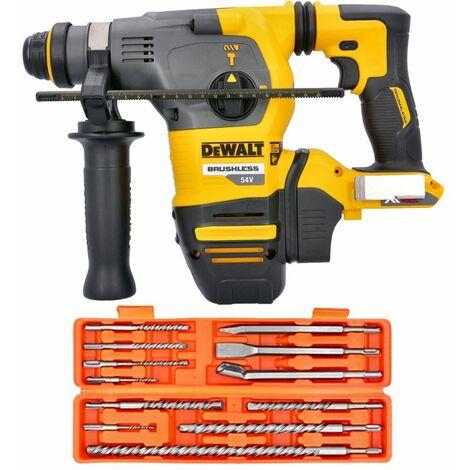 Dewalt DCH333 54V XR Brushless Flexvolt SDS+ Hammer Drill With 12 Piece SDS Drill Bit Set