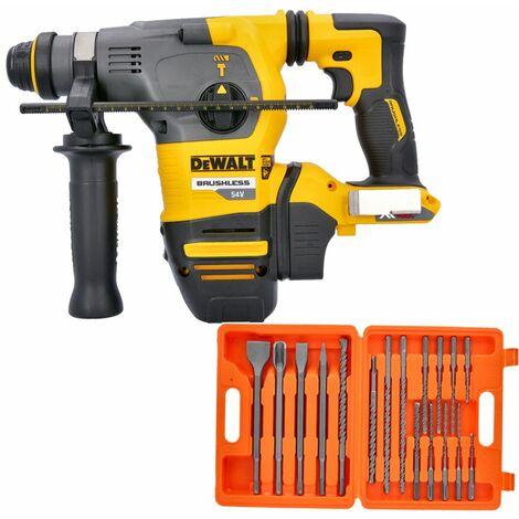 Dewalt DCH333 54V XR Brushless Flexvolt SDS+ Hammer Drill With 17 Piece SDS Drill Bit Set