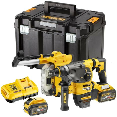 Dewalt DCH333X2 54v FlexVolt Brushless SDS Hammer Drill + Dust Extractor 2x 9ah