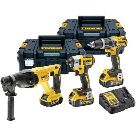 Dewalt DCK 3 Piece 18v XR Brushless Kit - DCD796 Drill DCF887 Impact DCH133N SDS