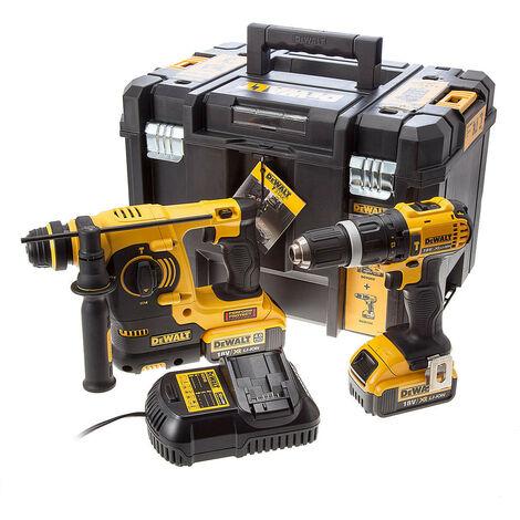 DeWalt DCK206M2T 18v XR Combi Drill & SDS+ Hammer Drill Twin Pack