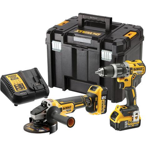 Dewalt DCK2080P2T 18V BL 2 Speed Hammer Drill & Grinder Kit with 2 x 5.0Ah Battery:18V