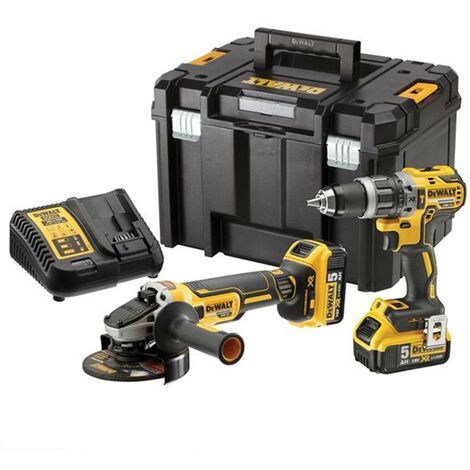 DeWALT DCK2080P2T 18V Combi Drill & Grinder Kit 2x 5ah Batts
