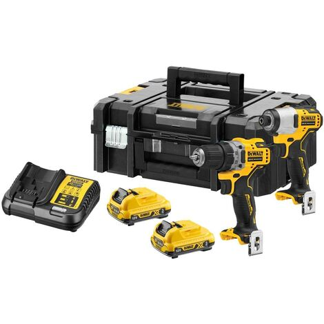 DeWalt DCK2110L2T 12V 2 x 3Ah XR Brushless Sub Compact Drill Driver and Impact Driver Twin Pack