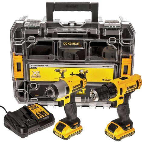 DeWalt - DCK211D2T-GB 10.8V Compact Drill Driver & Impact Driver Twin Pack