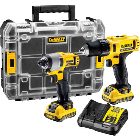 Dewalt DCK211D2T XR 10.8V Drill Driver & Impact Driver Twin Pack With 2 x 2.0Ah Batteries Charger
