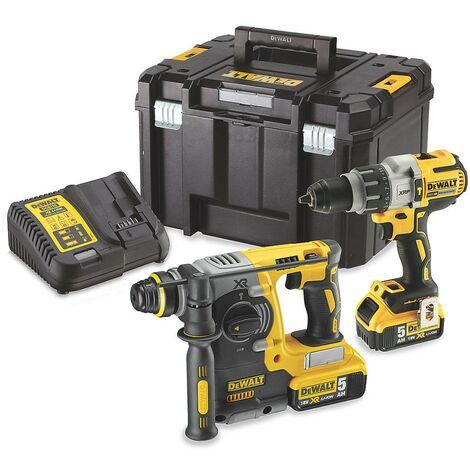 Dewalt DCK229P2T 18V Brushless Twin Pack DCD996 Combi Drill + DCH273 SDS Hammer