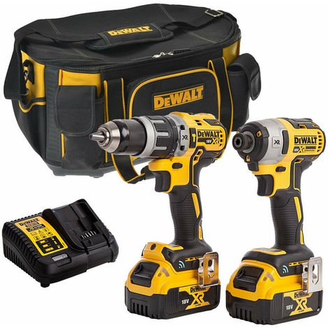 Dewalt DCK2500P2B-1 18V Brushless Twin Kit with 2 x 4.0Ah Batteries & Charger in Bag:18V