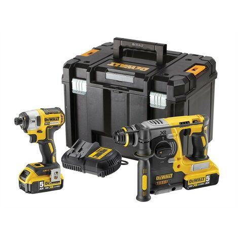 DeWalt DCK2532P2 18V SDS+ Drill & Driver Twin Pack with 2x 5.0Ah Batteries