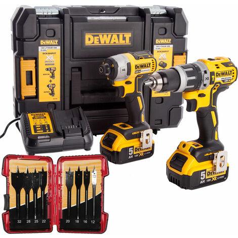 Dewalt DCK266P2T 18V Brushless Twin Kit 2 x 5.0Ah & 8 Piece Flat Drill Bit Set