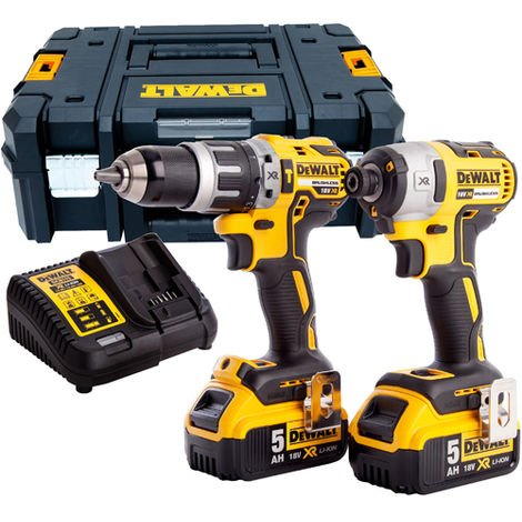 Dewalt DCK266P2T 18V Brushless Twin Kit with 2 x 5.0Ah Batteries & Charger in TSTAK Box