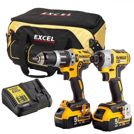 Dewalt DCK266P2TB 18V Brushless Twin Pack 2 x 5.0Ah Batteries & Charger in Bag