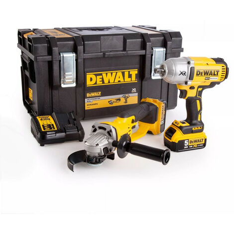 DeWalt DCK269P2 18V Impact Wrench & Angle Grinder Twin Pack with 2x 5.0Ah Batteries