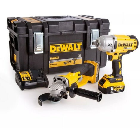 Dewalt DCK269P2 18V XR Brushless Twin Pack Impact Wrench & Angle Grinder With 2 x 5Ah Batteries