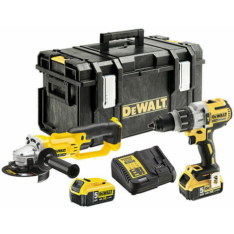 DeWalt DCK278P2T 18V Combi Drill & Angle Grinder Twin Pack with 2x 5.0Ah Batteries