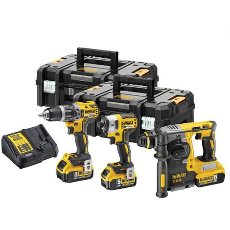 Dewalt DCK368P3T 18V XR 3 Piece Brushless Kit with 3 x 5.0Ah Batteries In 2 x TSTAK II Toolboxes