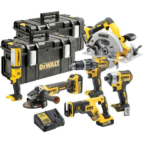 Dewalt DCK623P3 18V Brushless 6 Piece Kit 3 x 5.0Ah Batteries With Charger & 2 x Kit Boxes