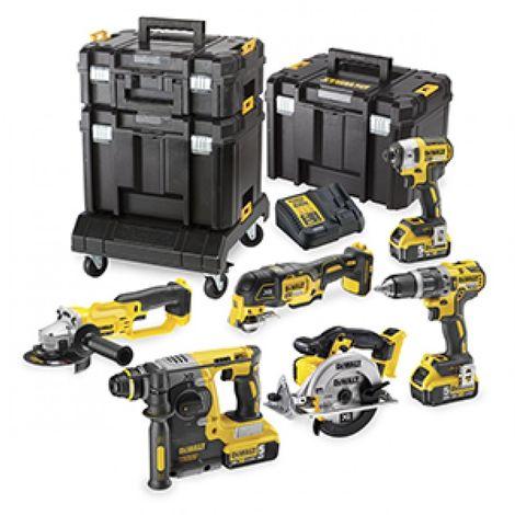 DeWalt DCK654P3T - Pack de 6 machines à batteries 18V Li-Ion (3x batterie 5,0Ah) dans coffret TSTAK - Moteur BL