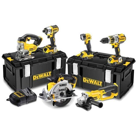 Dewalt DCK694P3 18V Brushless 6 Piece Kit 3 x 5.0Ah Batteries with Charger & Kit Boxes