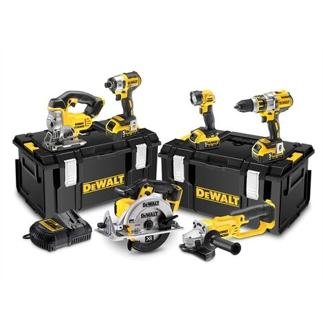 DeWalt DCK694P3-GB - 18V XR 6 Piece Kit (3 speed) with 3 x 5.0Ah batteries, charger & tough system cases: DCD996, DCF887, DCG412, DCS331, DCS391, DCL040 |