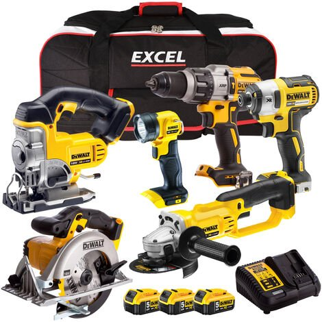 Dewalt DCK694P3B 18V Li-Ion 6 Piece Combo Kit 3 x 5.0Ah Batteries Charger & Bag