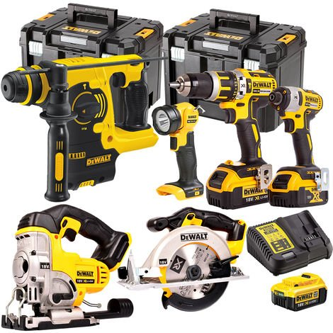 Dewalt DCK699M3T 18V 6 Piece Kit 3 x 4.0Ah Batteries Charger & 2 x TSTAK Kitboxes
