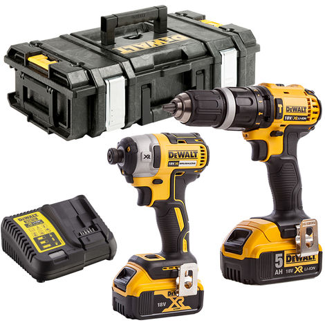 DeWalt DCK8587P2 18V Combi Drill & Impact Driver Kit with 2 x 5.0Ah Batteries