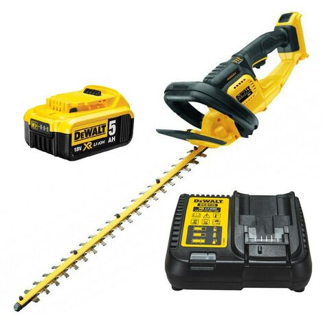 Dewalt DCM563P1 18v Cordless Hedge Trimmer Cutter + 1 x 5.0ah Battery + Charger