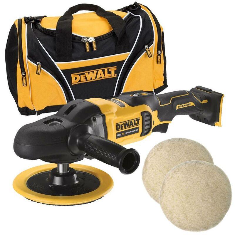 Dewalt DCM849N 18v Brushless XR Rotary Polisher 180mm Bare Unit + Bag + 2 Pads