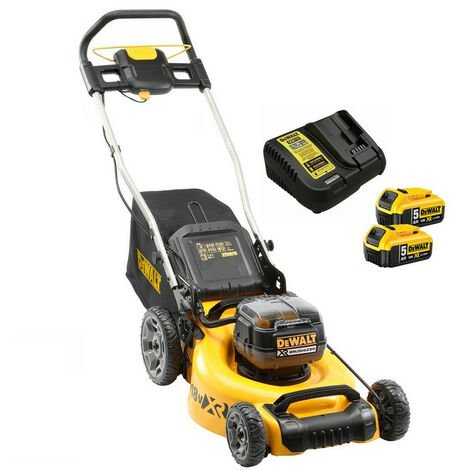 DeWalt DCMW564P2 Twin 18V Brushless Lawn Mower with 2x 5.0Ah Batteries