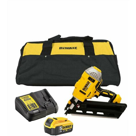 """main image of """"DeWalt DCN692 XR 18V BL First Fix Angled Nail Gun with 1x 5.0Ah Battery & DCB115 Charger"""""""