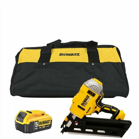 """main image of """"DeWalt DCN692 XR 18V BL First Fix Angled Nail Gun with 1x 5.0Ah Battery & Tool Bag"""""""