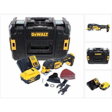 Dewalt DCS 355 P1 18 V XR Li-ion Outil oscillant multi-cutter sans fil avec 29 Accessoires en Coffret TStak + 1 x Batterie 5,0 Ah + Chargeur