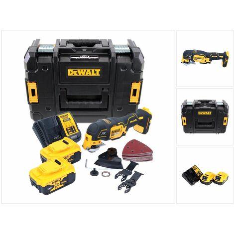 Dewalt DCS 355 P2 18V XR Li-ion Outil oscillant multi-cutter sans fil avec 29 Accessoires en Coffret TStak + 2x Batteries 5,0 Ah + Chargeur