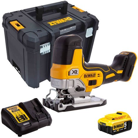 DeWalt DCS335N 18V Brushless Grip Jigsaw with 1 x 5.0Ah Battery & Charger in Case:18V