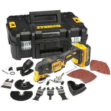 DeWalt DCS355M1 Multi-cutter à batteries 18V Li-Ion (1x batterie 4.0Ah) + set d'accessoire 35 pièces dans coffret - moteur sans charbon
