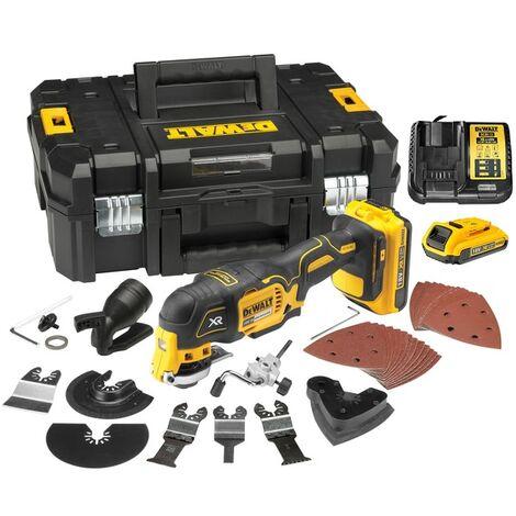 DeWalt DCS355M2 Outil multi-usage à batterie 18V XR (2x batterie 4.0Ah) dans TSTAK + Accessoire 35 pièces - moteur sans charbon