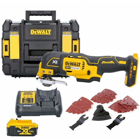 Dewalt DCS355N 18V MultiTool With Acc. + 1 x 5.0Ah Battery, Charger & T-Stack Case