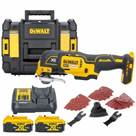 Dewalt DCS355N 18V MultiTool With Acc. + 2 x 5.0Ah Batteries, Charger & T-Stack Case