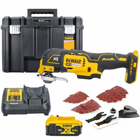 Dewalt DCS355N 18V MultiTool With Accessories + 1 x 5.0Ah Battery, Charger & Case