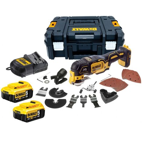 DeWalt DCS355P2 18V XR Brushless Multi-Tool with 35pc Accessory Kit, 2 x 5.0Ah Battery and Case