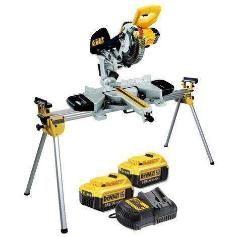 Dewalt DCS365M2 18v Cordless XPS 184mm Mitre Saw, 2 x 4.0ah + DE7023 Leg Stand