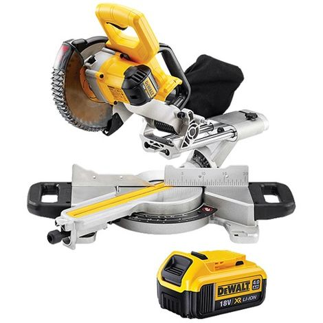 DeWalt DCS365N 18v 184mm XPS Slide Mitre Saw With 1 x 4.0Ah Battery