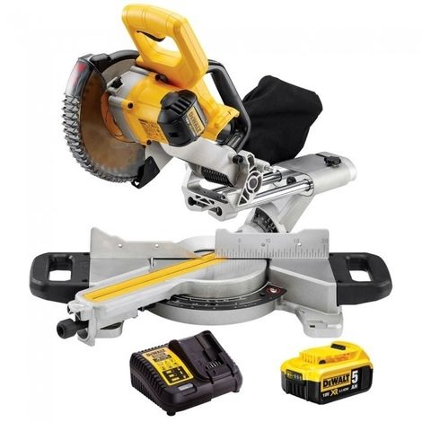 Dewalt DCS365N 18V Cordless 184mm Mitre Saw With 1 x 5.0Ah Battery & Charger:18V