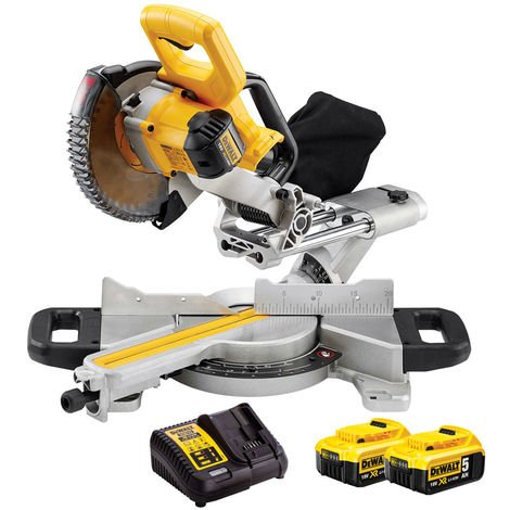Dewalt DCS365N 18V Cordless 184mm Mitre Saw With 2 x 5.0Ah Batteries & Charger:18V