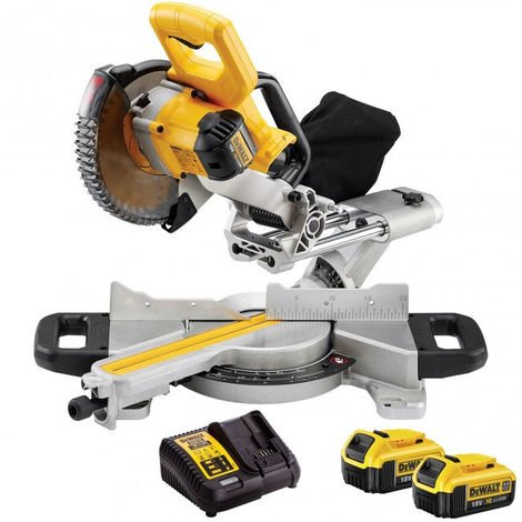 Dewalt DCS365N 18V Mitre Saw 184mm with 2 x 4.0Ah Batteries & Charger:18V
