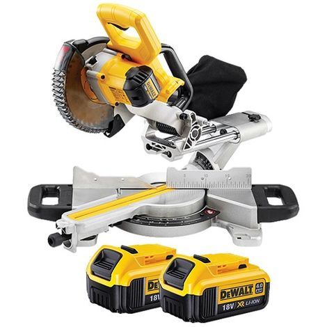 DeWalt DCS365N 18v XR 184mm XPS Slide Mitre Saw Body With 2 x 4.0Ah Batteries