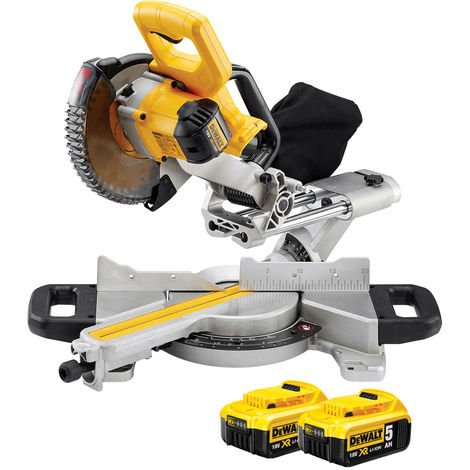 DeWalt DCS365N 18v XR 184mm XPS Slide Mitre Saw Body With 2 x 5.0Ah Batteries